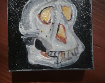 Animal skull, Skull painting, bones artwork, daily painting, tiny art, mini canvas, original artwork, 4x4 acrylic art, canvas art