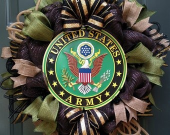 Army Wreath, United States Army Wreath, Military Wreath, Patriotic Wreath, Deco Mesh Wreath, Front Door Wreaths, Wreaths