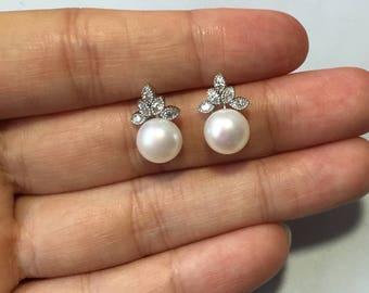 Pearl earring,bridal ear pearl,crystal earrings stud,flower pearl studs,freshwater pearl earring stud,wedding earings jewelry bridesmaid