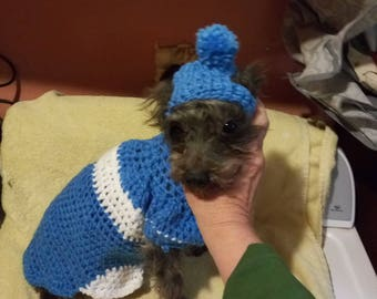 Crocheted pet sweater with hat or without hat