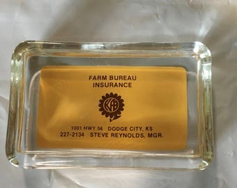 Glass Paperweight from old Farm Bureau in Dodge City Kansas