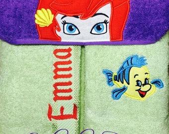 "Personalised Hooded Towel  ""The Little Mermaid"" add name FREE"