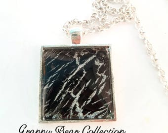 Handmade Square Silver-tone Glass Necklace with Black, Silver and Glitter Animal Print Design