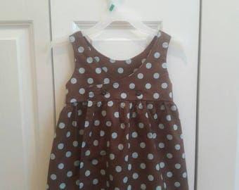 Brown and light blue polka dot dress size 3