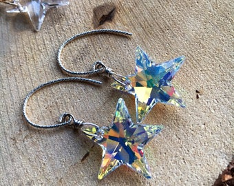 Star Swarovski Crystal Earrings and Necklace Sets in Sterling silver and 14kt Gold Filled/ winter Jewelry/ Celestial Star jewelry