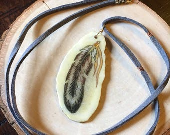 Handmade Feather Horn Pendant on Gray Faux Suede Cord with Mixed Metals including Sterling Silver, copper, and 14kt Gold Filled
