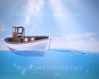 Digital Background/Backdrop...Boat in the Ocean/Water/Fish/Underwater High Resolution  300ppi