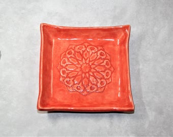 Red Square Mandala ring dish. For bridesmaid, wedding favor, ring holder, prom, bride, coaster.
