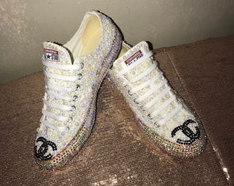 Pearl and Rhinestone Chanel inspired bridal chucks
