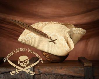 Straw Pirate Tricorn Hat, Straw Tricorn, Pirate Hat