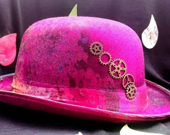 Hand painted pink bowler / bowler hat hand painted pink