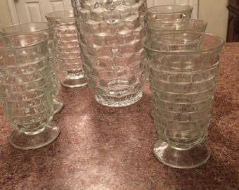 Beautiful vtg set of 7 Pc Indiana glass Whitehall colony footed clear tea/water glasses