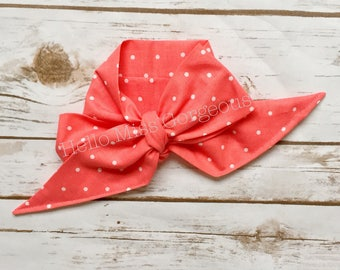 CORAL DOTS Gorgeous Wrap- headwrap; fabric head wrap; polka dot head wrap; newborn headband; baby headband; toddler headband; baby headwrap