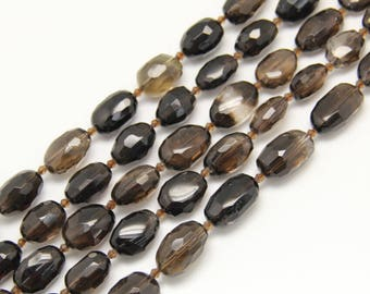 Natural Smoky Quartz Faceted Cut Nugget Strands Beads Sales, Freeform Crystal Quartz Beads Nugget Pendants