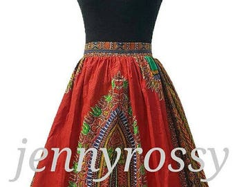 Red Dashiki Midi Skirt, African print skirt, African clothing