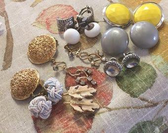 Bundle of vintage clip earrings