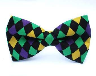 Mardi Gras Bow Tie, New Orleans Bow Tie, Bowtie, Dog Bow Tie, Mens Bow Tie, Boys Bow Tie, Kids Bow Tie, Toddler Bow Tie, Bow Tie, For Him