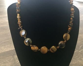 17 inch Brown Tiger's Eye Chip and Round Necklace