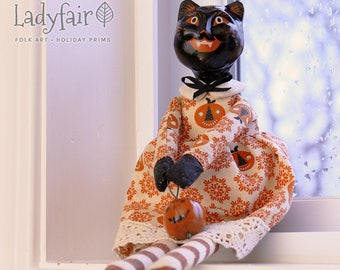 Katarina Halloween Folk Art Doll • Holiday Collectible • Black Cat • Halloween Decor