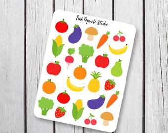 Fruits and Veggies Planner Stickers Designed for Erin Condren Life Panner Vertical