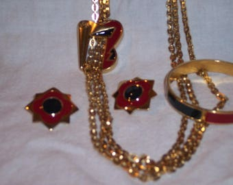 Vintage 1980s Monet Parure Black & Red on Gold