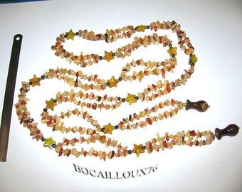 "Test 1 - ""BOA"" CARNELIAN stones necklace - 140cm LONG"