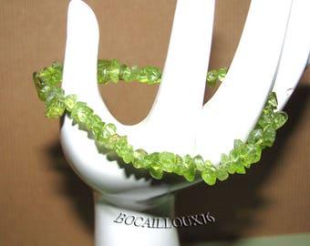 BRACELET PERIDOT (Olivine) 9 - L.17 cm green - on CORDELASTIC Chips