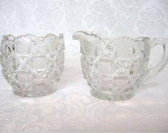 Vintage Crystal Creamer & Sugar Bowl OLD Crystal Hobstar Creamer and Sugar Scalloped Saw-tooth Edge Hob-star Pattern PERFECT Condition