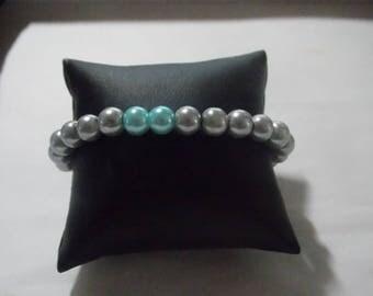 Gray/Blue Pearl elastic bracelet