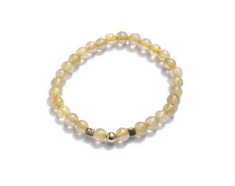 LIGHTWAVE / Golden Rutilated Quartz • 14k Gold • Pyrite / Crystal Bracelet
