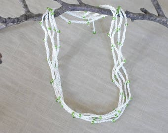 Linen bracelet or long necklace, multi strand necklace, linen beaded green necklace