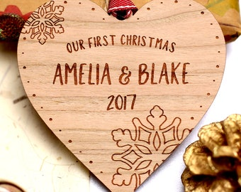 Our First 1st Christmas Ornament, Personalised Couples First Christmas Decoration, Wooden Christmas Bauble, Married Christmas Ornament Gift