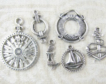 6-pack Sampler, Nautical Charms, Sailing Charms, Mixed Collection, Beach Charms, Ocean Charms, Sea Charms, Ship Charms, Mermaid, COL019