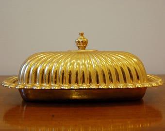Vintage 24K Gold Electroplated Butter Dish
