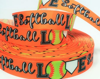 "7/8"" inch LOVE Softball on Orange Blue Balls Sports Soft Ball Printed Grosgrain Ribbon for Hair Bow"
