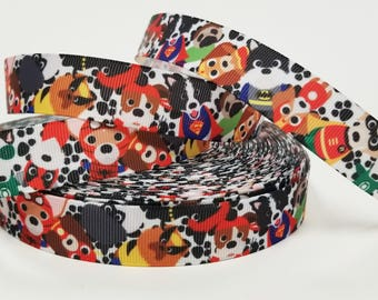 "7/8 "" inch Super Hero Dogs on Black Paws on White - Printed Grosgrain Ribbon for 7/8 inch  Hair Bow"