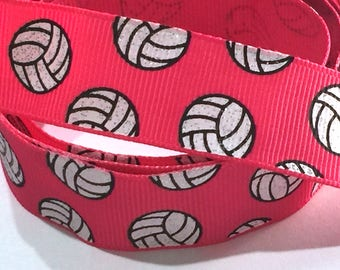7/8 inch Volleyball Glitter on Pink Printed Grosgrain Ribbon for Hair Bow  Sports - Original Design