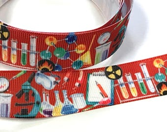 """7/8 inch Science Microscope STEM Red Background School Printed Grosgrain Ribbon Hair Bow - 7/8"""""""