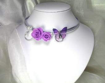 Collier Fil d'aluminium Keissy lilas