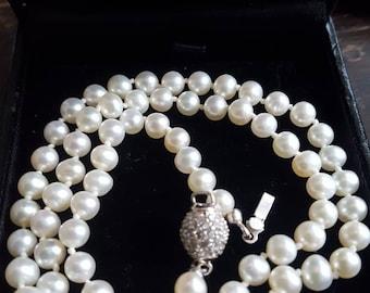 Vintage & Elegant South Sea Pearl  Necklace,  Diamonds Ball Closure.
