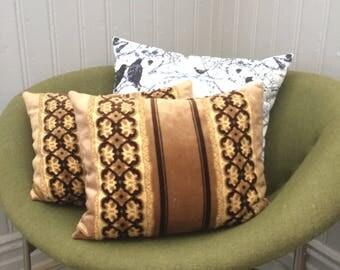 Pair of vintage glam decorative pillows/golden caramel and brown 1970s throw pillows/velvet/velour