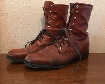 Red leather justin boots size 9.5d vintage western rodeo