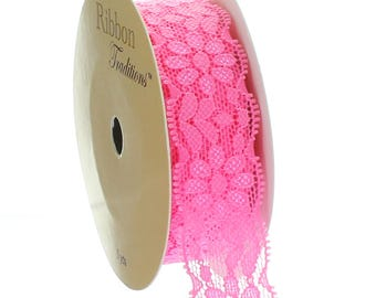 "7/8"" Stretch Elastic Lace Trim - Hot Pink - Choose Length"