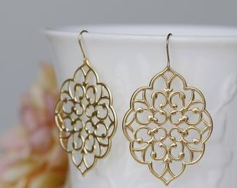 Lace Gold Filigree Dangle Earrings, Boho Chic Statement Earrings, Wedding Bride Earrings