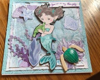Mermaid with Sea Turtles Greeting Card