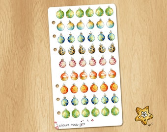 Mini Watercolor Stickers of Christmas Bubles - Perfectly Fitting Planners Like Filofax Personal or Kikki.k Medium