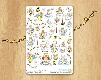 Watercolor Stickers : Christmas Angels and Shepherds, Perfectly Fitting Life Planners, Christmas Gifts and Cards