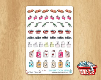 52 Watercolor Stickers for Housework, perfect for Life Planners or Bullet journals