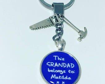 Grandad personalised keychain, Grandad personalised gift, Grandad tools keyring, Grandad tools gift