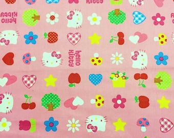 HELLO KITTY Fabric, cat, Sanrio, heart, apple, star,  pink fabric, cute 100% Cotton Fabric by yard, half yard, yard